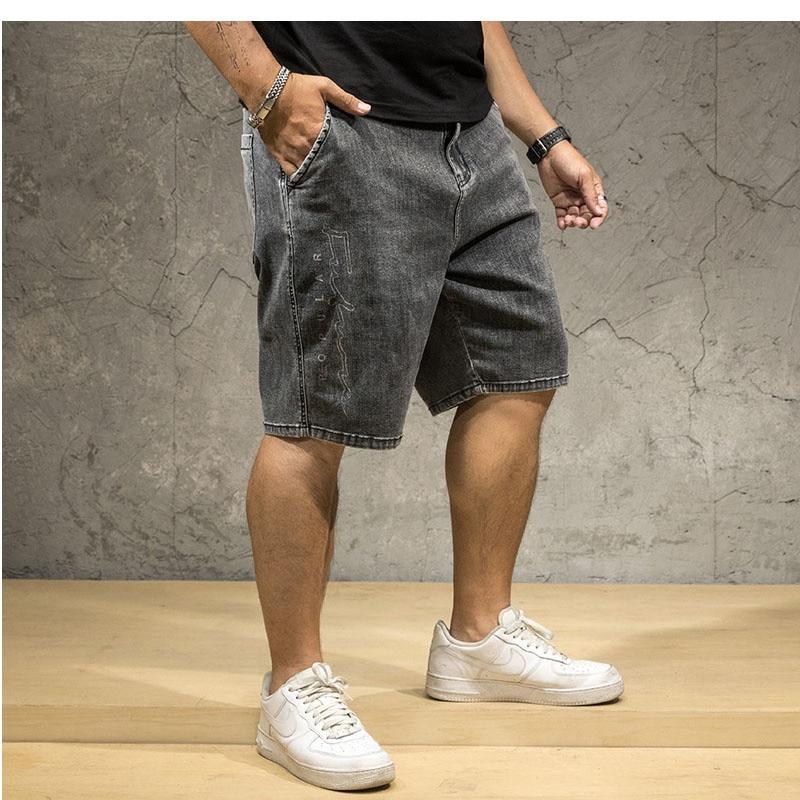 Шорты мужские джинсовые в ковбойском стиле, повседневные свободные брюки из денима, блестящие джинсовые бриджи с завышенной талией, больши...