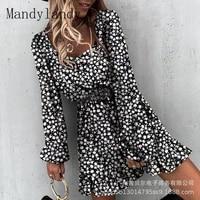 mandylandy dress casual lantern sleeve backless square collar high waist dress womens print ruffles pleated stitching dress