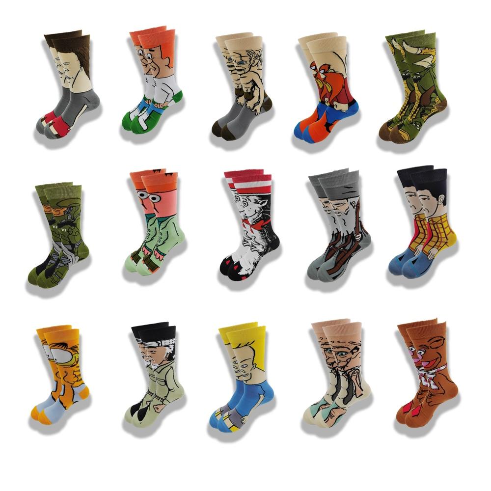 Пара осенне-зимних мужских и женских носков с мультяшными животными, желтые, синие, красные, оранжевые, зеленые, серые