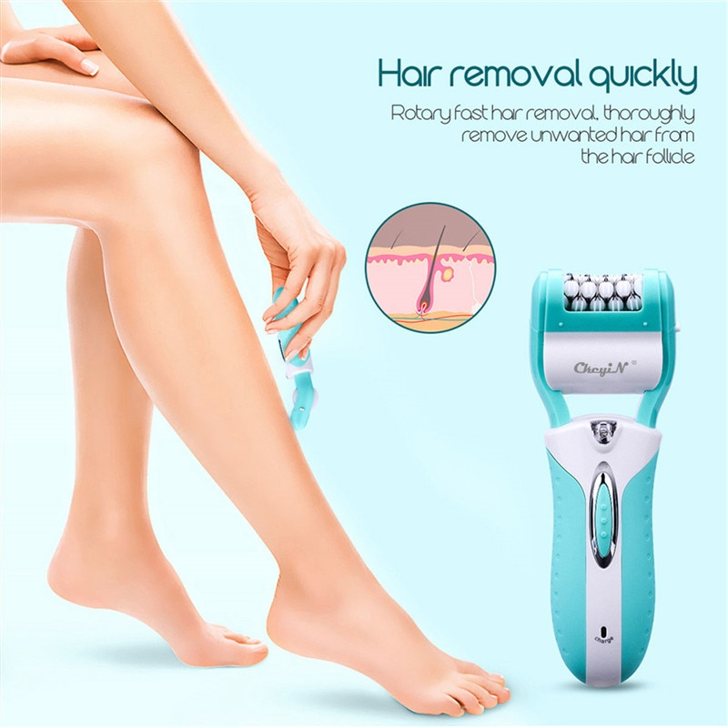 CkeyIN 3 In 1 Electric Epilator Hair Removal Painless Shaving Foot File Pedicure Tool Beauty Machine For Bikini Body Leg Face enlarge