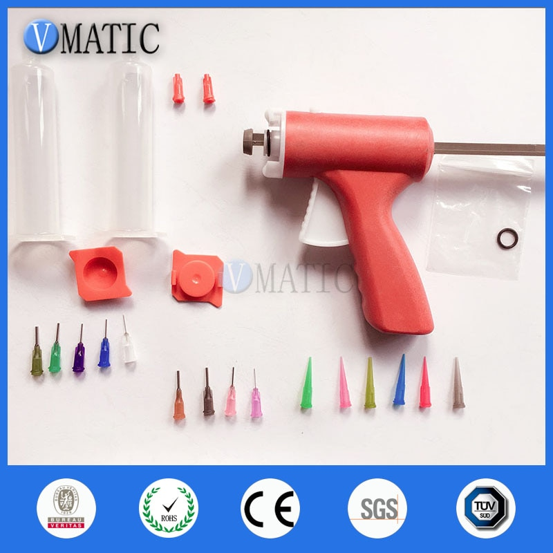 Envío Gratis 30/55cc ml manualmente solo líquido dispensador pistola de pegamento con 30/55 cc ml jeringa Set