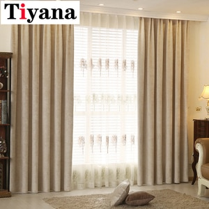 Tiyana Modern Chenille Blinds Curtains For Living Room Window Drapes Shade Thick Curtain Panels Tulle for Kitchen Rooms JK082X