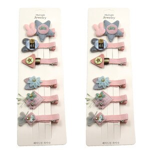 12PCS/2Card Cute Cat Star Gray Girls Clips Bow Child Tie Knot Creativity Handmade Hairpins Fashion Hair Accessories For Kids New