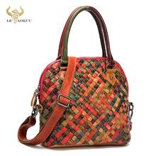 Oil Wax Leather Women Patchwork Female Luxury Brand Purse Handbag Fashion Colorful Over Shoulder Bag