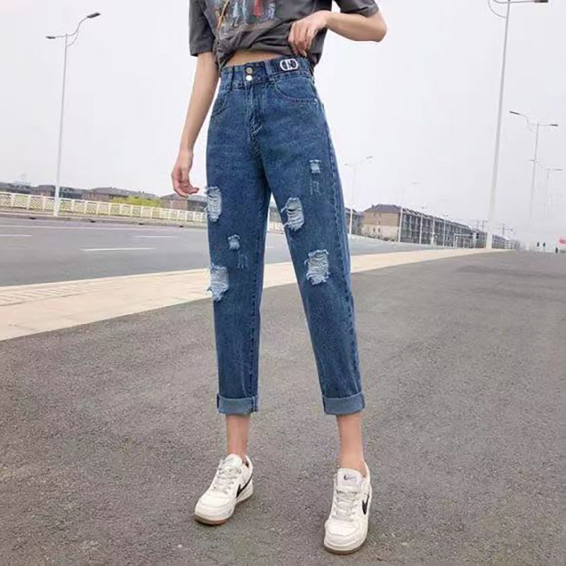 60 New Women's Hole Straight Jeans Tube Loose High Waist pants Thin Harun Ankle-Length pants Summer 2021