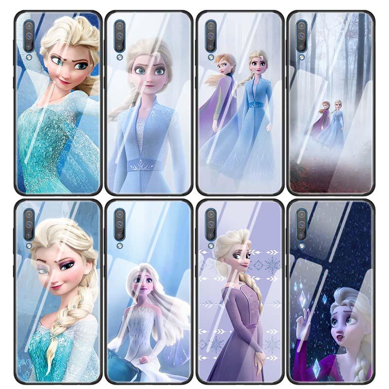Glass Case Coque for Samsung Galaxy A50 A51 A70 A71 A10 A20 A30 A31 A41 A91 A01 A11 Cover Capa Princess Ana elsa