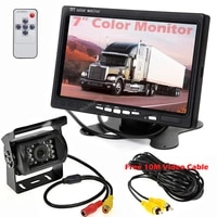 vehicle 18led waterproof night vision reversing rear view camera 7 inch color monitor parking auxiliary display 10m video cable
