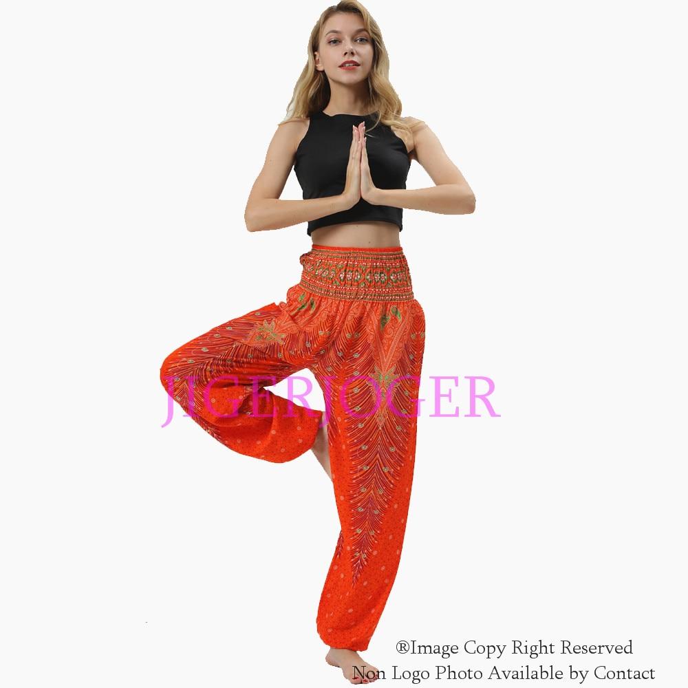 JIGERJOGER algodón naranja Pavo Real pluma tailandesa Harem pantalón de bolsillo lateral recto Harem loose lounge yoga legging envío gratis