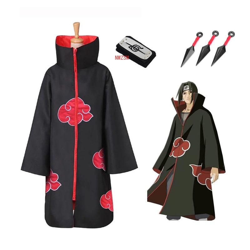 Gran oferta de disfraz de Naruto Akatsuki /Uchiha Itachi, disfraz de Halloween y Navidad, capa, disfraz para fiesta