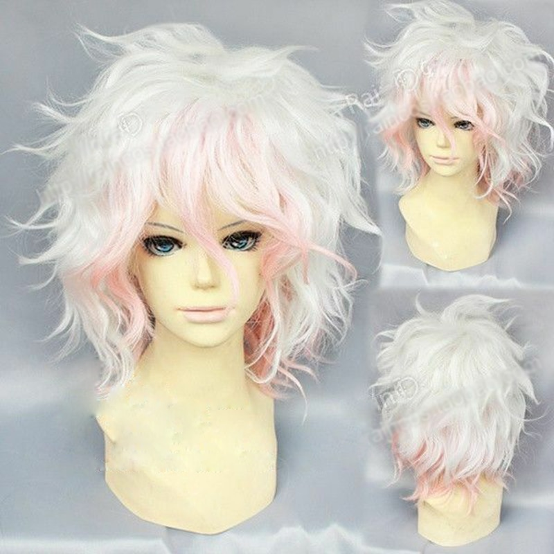 Peluca de Cosplay de Komaeda Nagito, pelucas Danganronpa de Anime, cabello Dangan Ronpa resistente al calor, peluca Cosplay de Komaeda Nagito + gorro de peluca