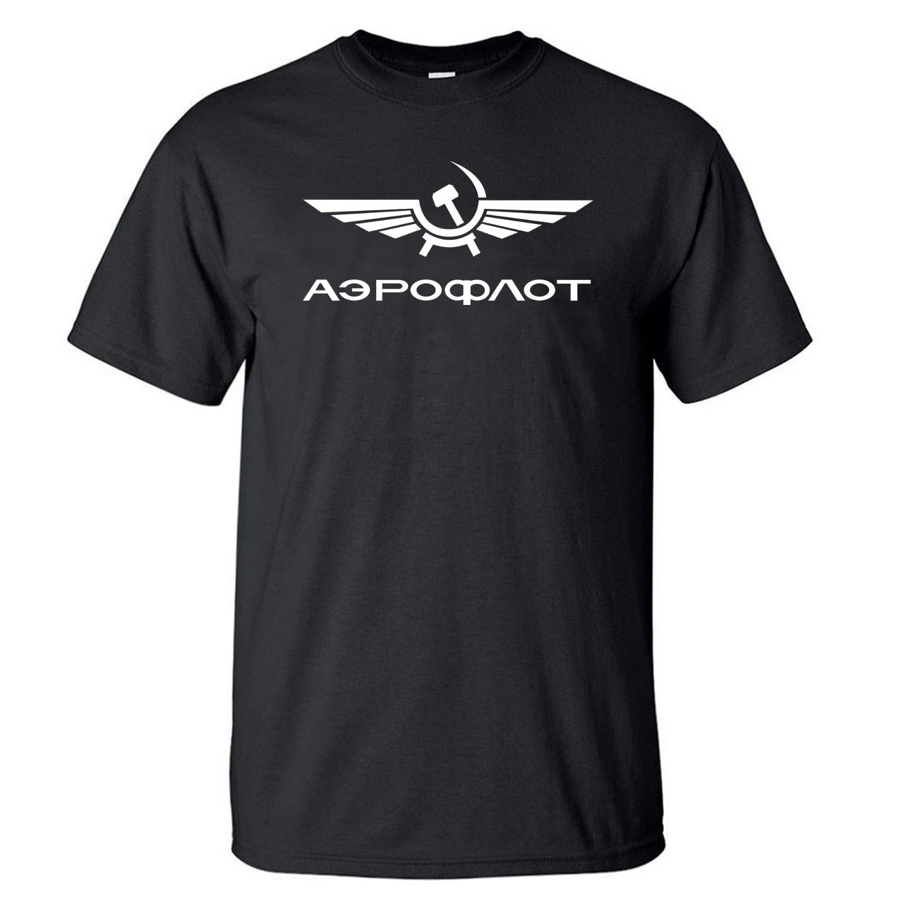 Aeroflot CCCP AVIACIÓN Civil USSR Rusia AIRFORCE camiseta hombres camiseta camisetas verano algodón manga corta negro blanco camiseta camisetas