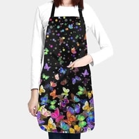 apron adjustable neck kitchen colorful butterfly printing durable waterproof pocket cooking baking barbecue gardening