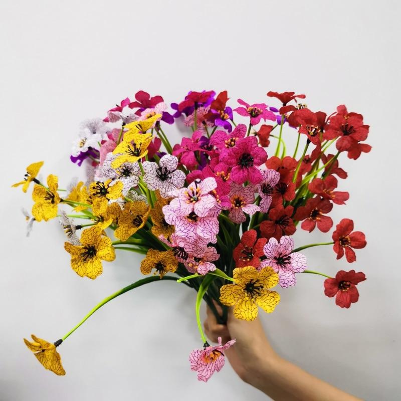 5 вилок, искусственные растения, зеленая трава, фиолетовая Калла, лилия, зеленые искусственные цветы, растения, садовый декор для стола, Рожд...