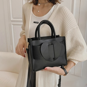 Solid color Square Tote bag 2021 Fashion New Quality PU Leather Women's Designer Handbag High capacity Shoulder Messenger Bag