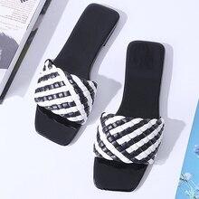 Women Slipper Black White Weave Design 2021 Summer Fashion Open Toes Best-selling Flat Sandal High Q