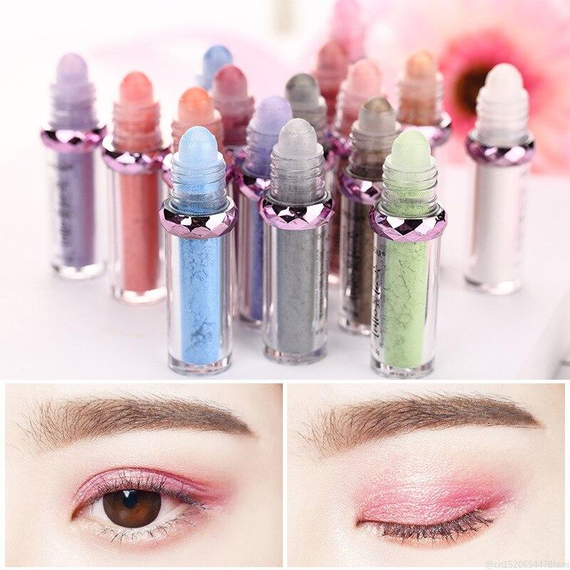 Brillo monocromo sombra de ojos en polvo brillo de cristal cálido brillo pigmento ojos purpurina Rosa verde maquillaje de ojos TSLM1