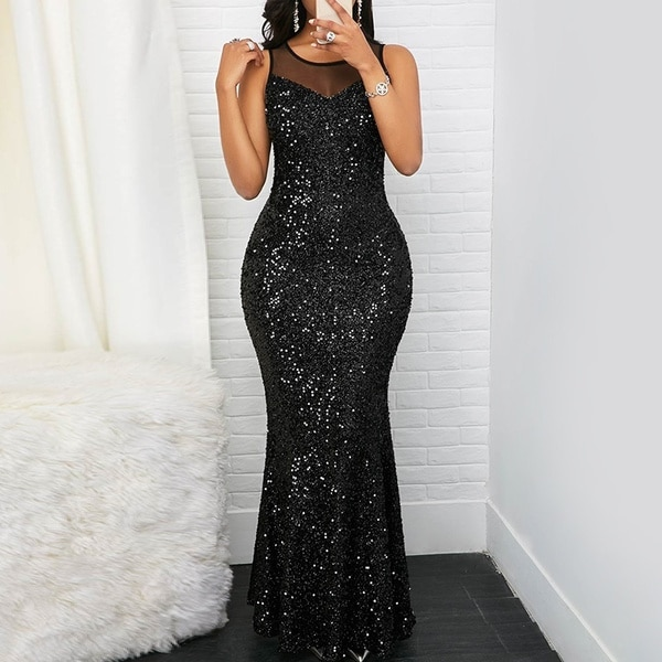 Sequin Prom Long Dress for Women Elegant Sleeveless Party Evening Slim Bodycon Maxi Dresses Party Cl