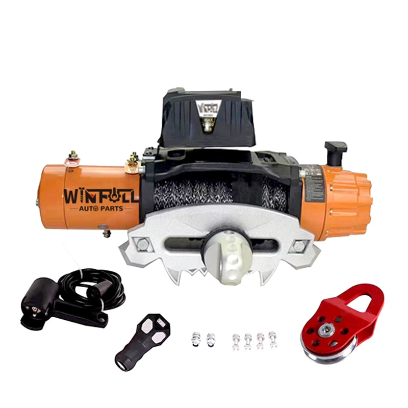Wfسخان 12000lbs ونش كهربائي 12 فولت/24 فولت 5454 كجم 4WD الهيدروليكية الكهربائية سحب المراكب الشراعية البحرية ونش التحكم عن بعد