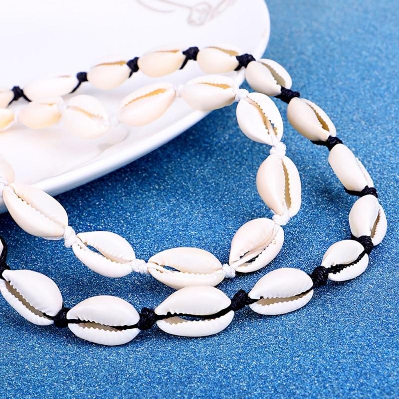 Collar gargantilla cadena colgante de concha de mar bohemio para playa DR #