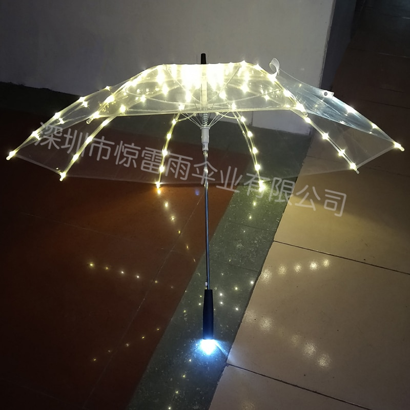Thunder Rain LED Light-Emitting Umbrella Female Girl Heart Fresh Director Photography Bar Stage Transparent Umbrella enlarge