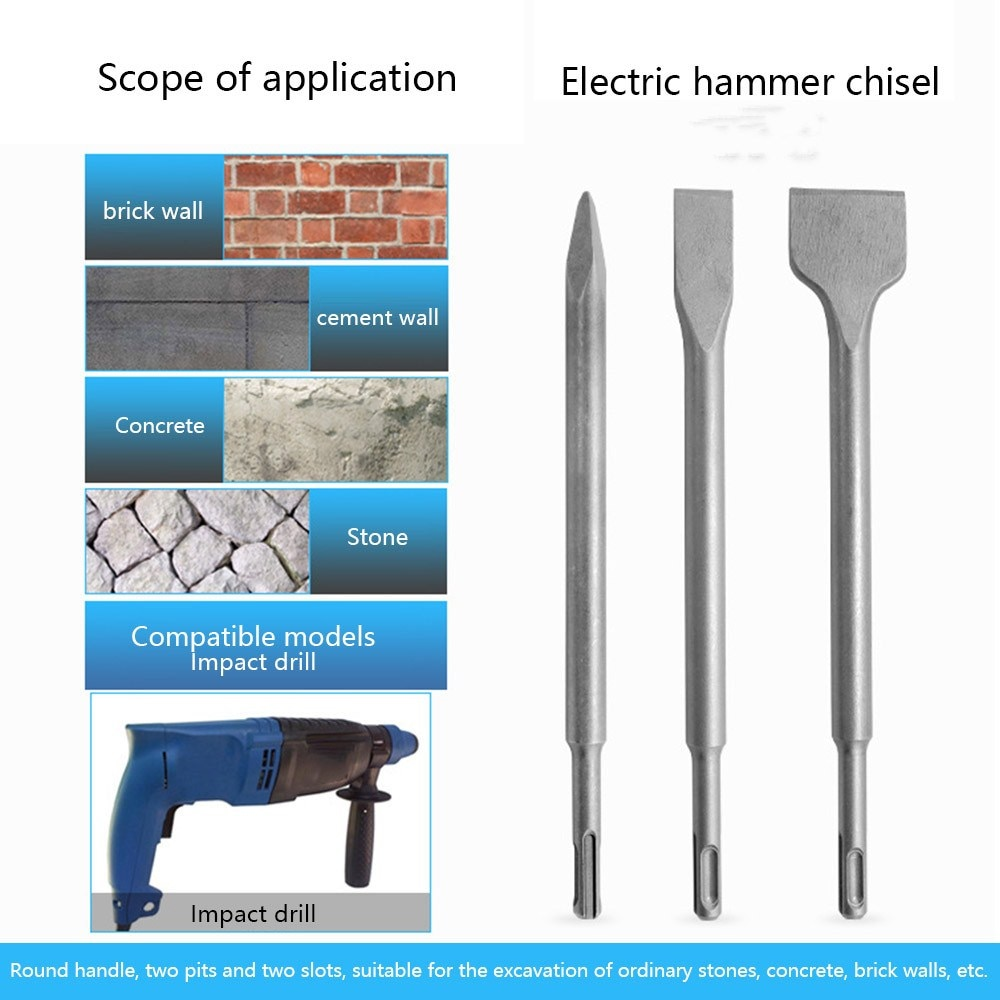 chisel hammer wester mh10 set of chisels 5pcs in the case Chisels Set Flat Chisel Point Chisel Bit 3/4 Pcs Impact Hammer Drill Concrete Wall Bit Hand Tools for Electric Hammers Chisel
