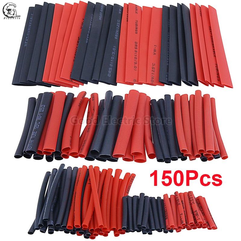 150 pçs/saco vermelho preto calor shrinkable tubo vário calor shrinkable tubo fio e cabo de isolamento manga kit tubo termoencolhível