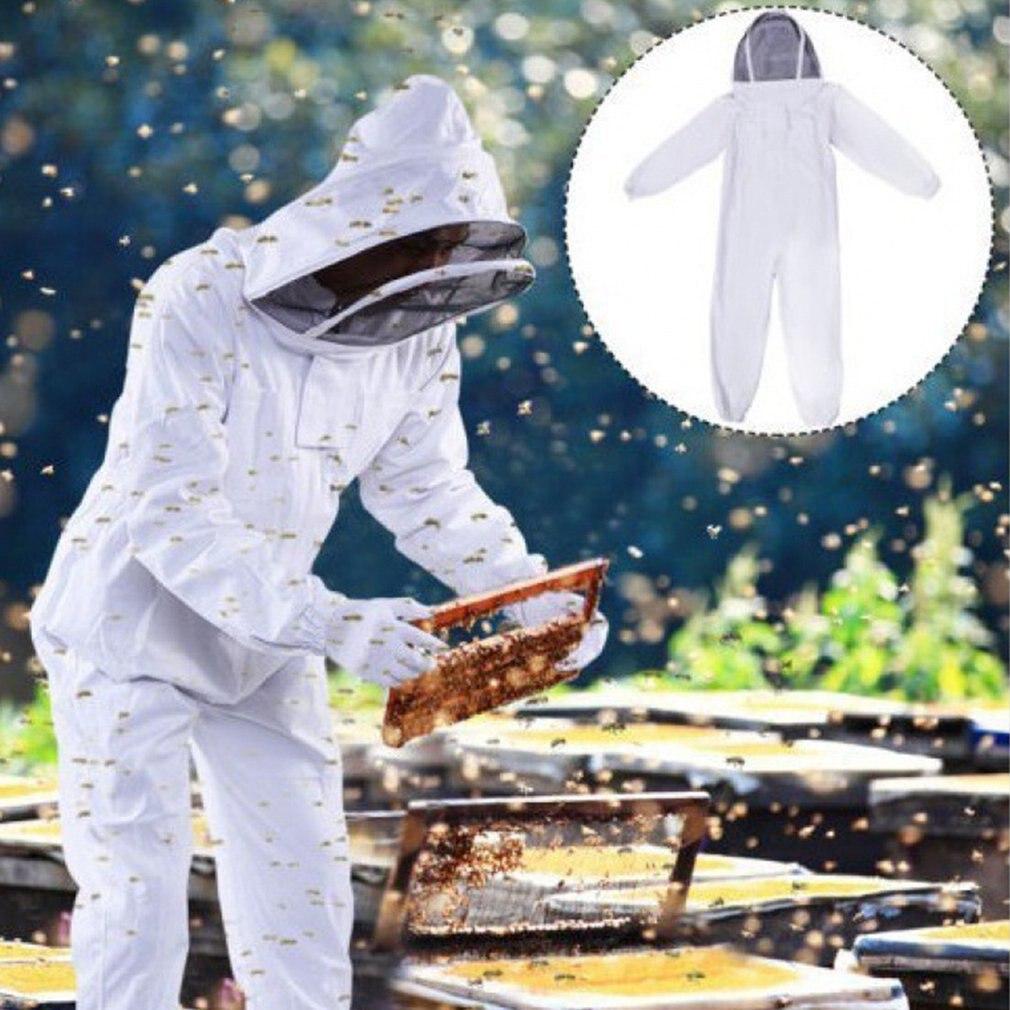 النحل برهان ملابس واقية كامل الجسم بدلة تربية النحل مزرعة للجنسين سلامة الزي مع الحجاب هود المهنية المنحل