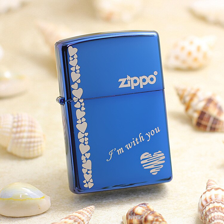 Mechero de gasolina Zippo auténtico de cobre a prueba de viento azul, cigarrillos de amor, queroseno, regalo con código antifalsificación