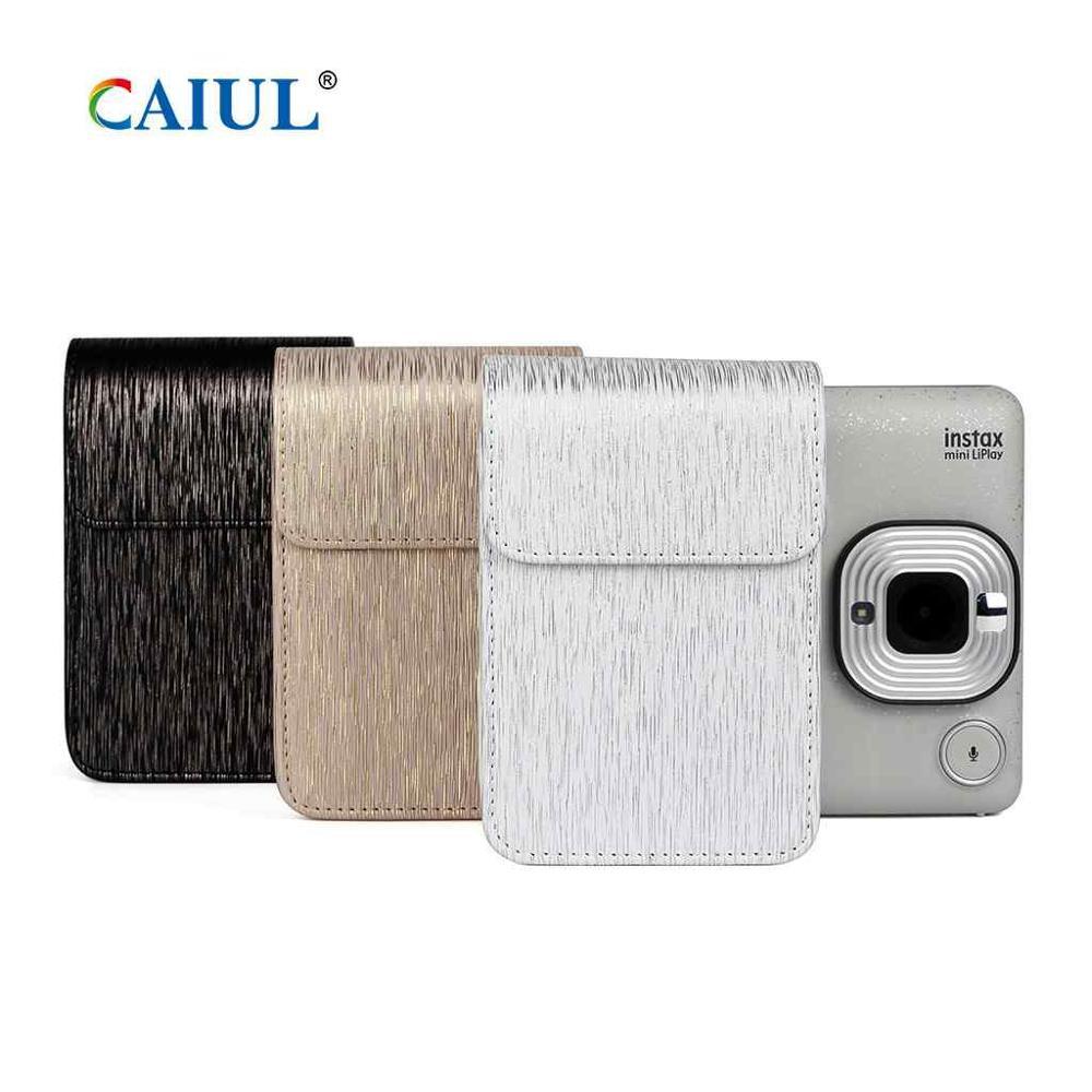 CAIUL Fujifilm Instax Mini Liplay Cámara bolsa Streamer cepillado funda protectora premium PU bolsa de cuero con correa de hombro