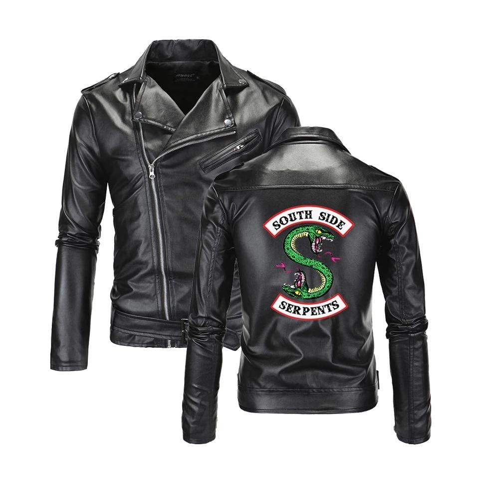 Southside Riverdale-جاكيت جلد صناعي للرجال ، ياقة مطوية ، Serpents ، أزياء رجالية ، ملابس الشارع الرائعة ، سترة ثعبان جنوب الجانب