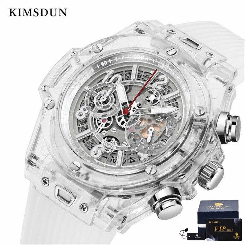 Marca KIMSDUN superior de moda para hombres tendencia de lujo negocios cuarzo cronógrafo transparente reloj militar clásico resistente al agua Relogio
