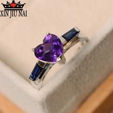 925 anillos silver Charm Purple Heart Zircon Rings for Women Trendy Elegant Wedding Rings Inlaid AAA Zircon Party Jewelry