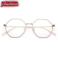 polygon women vintage eyewear men stainless light spectacles prescription optical frame fashion retro glasses