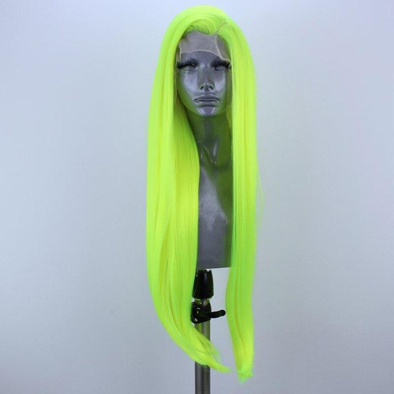 اللون الأخضر مستقيم الاصطناعية الدانتيل الجبهة الباروكات للنساء الجانب جزء ألياف مقاومة للحرارة الشعر الطبيعي مستقيم غلويليس الباروكات