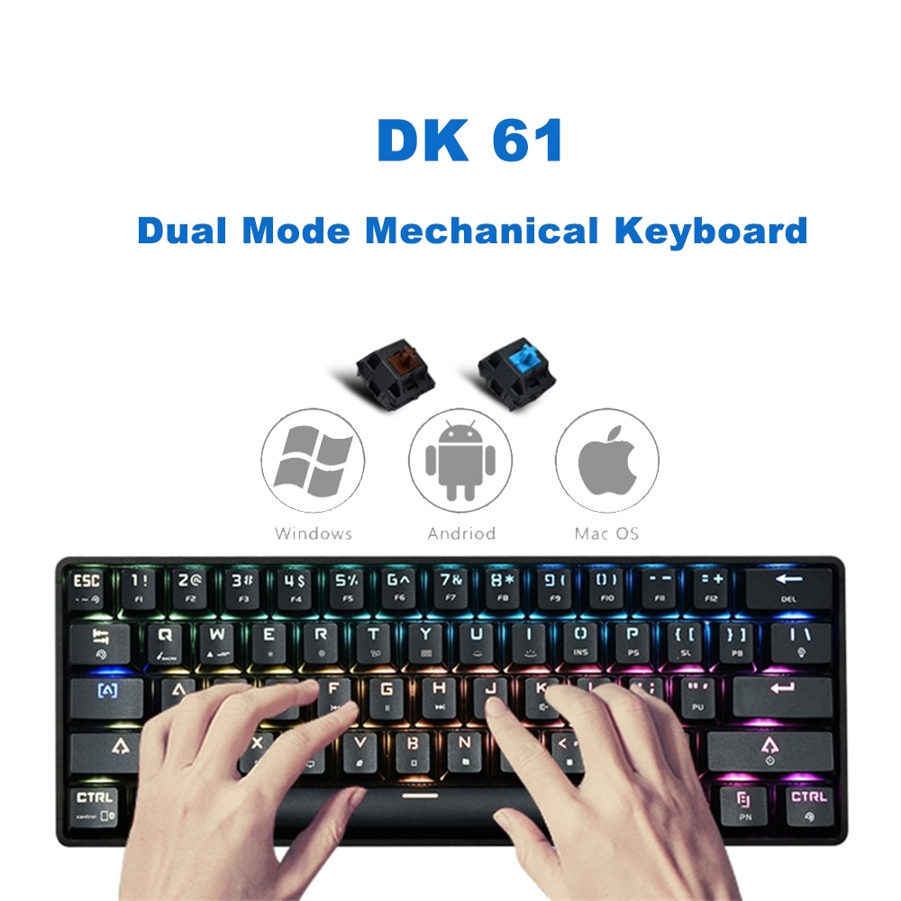 Teclado mecánico para juegos con doble modo inalámbrico Bluetooth con cable USB, 61 teclas, retroiluminación LED RGB, interruptor azul para PC y Gamer