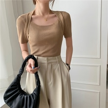 CMAZ Fashion Short-sleeve T-shirt Women 2021 New Summer Square Neck Stretch Knitted Tshirt Solid Cas