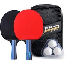 BOLI 1 Pair Professional Table Tennis Ping Pong Racket Paddle Bat+3pcs Balls Bag Set 2 Side Films Wear Resistant