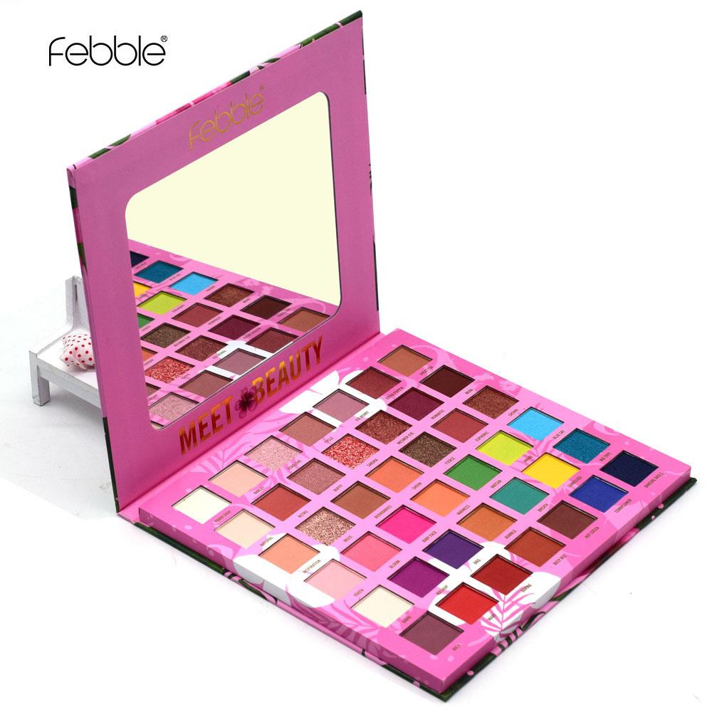 Febble marca 42 cores sombra de olho paleta pigmento matte shimmer glitter sombra maquiagem conjunto pó fullcolor suave cosméticos