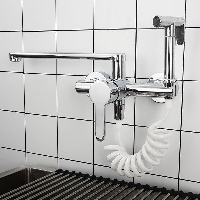 Grifo de cocina de latón cromado, mezclador de fregadero de cocina montado en la pared, grifo de agua con pulverizador