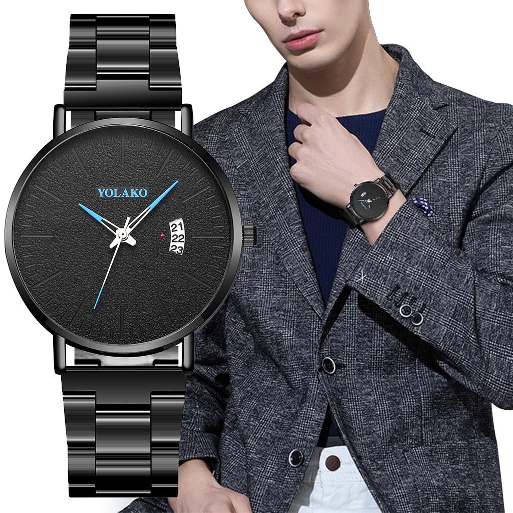 Simple Mens Wrist Watch Business ultra-thin Waterproof Calendar Dial Black Stainless Steel Strap Men