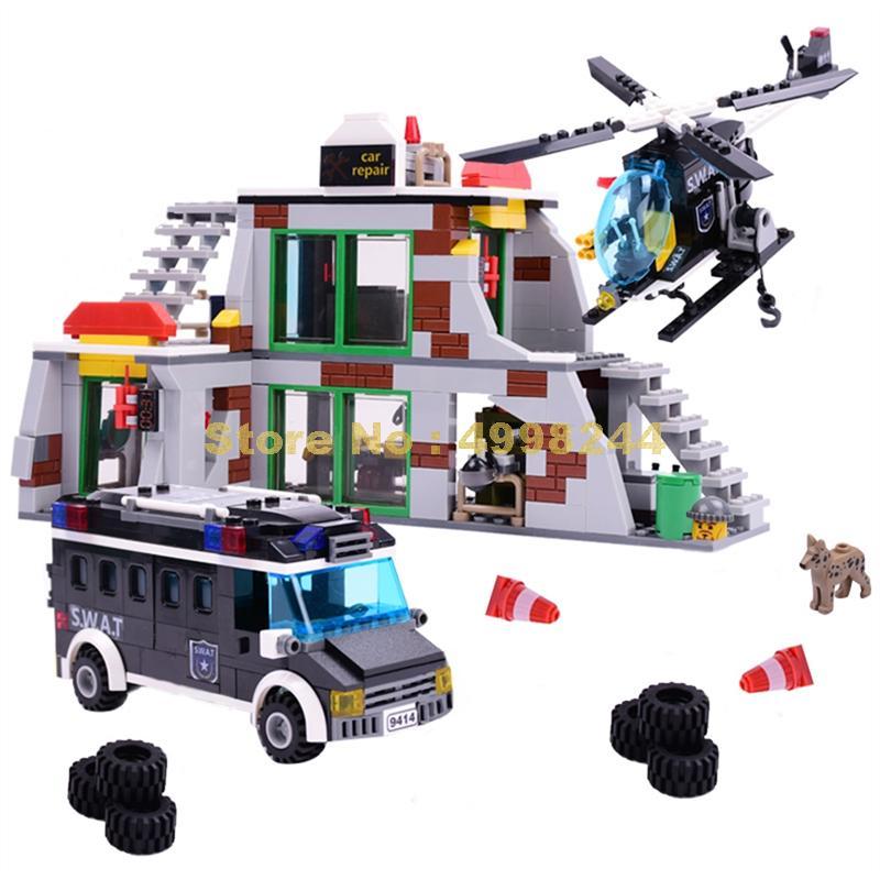 703pcs swat da polícia da cidade de ataque terroristas dens 7 helicóptero building block Bricks Toy
