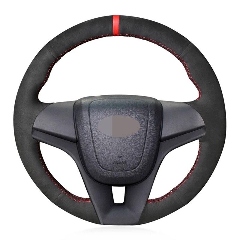 Car Steering Wheel Cover Non-slip Black Genuine Leather Suede For Chevrolet Cruze 2009-2014 Aveo 2011-2014 Orlando 2010-2015
