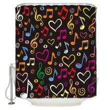 Kolorowe nuty muzyka Love Heart zasłona prysznicowa wodoodporna i odporna na pleśń kurtyna kąpielowa z tkaniny poliestrowej