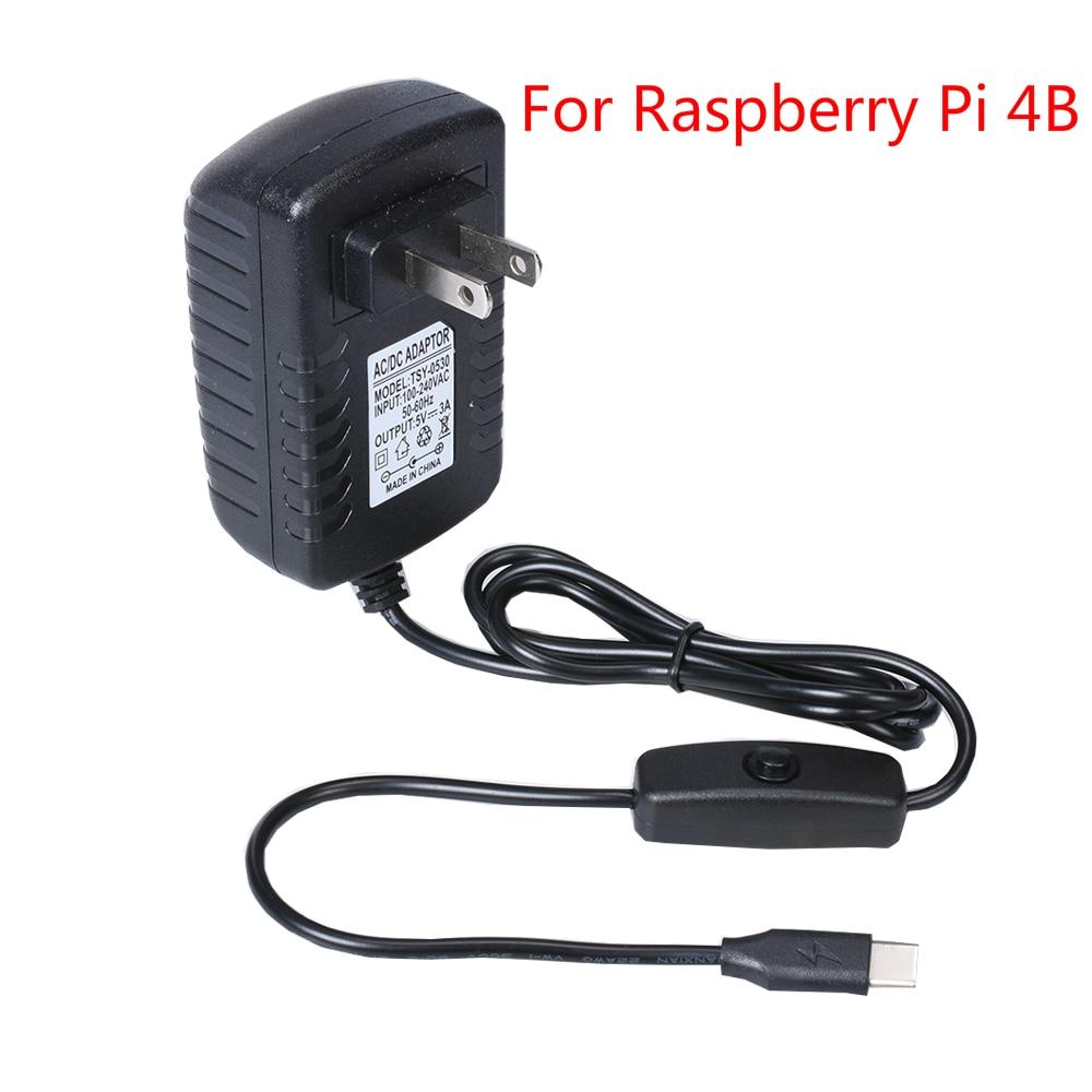 Адаптер питания для Raspberry Pi 4B, 5 В, 3 А, USB Тип C, зарядное устройство для США/Великобритании, адаптер постоянного тока/переменного тока 100-240 В дл...