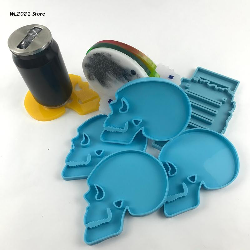 Skeleton Coaster Epoxy Resin Mold Cup Mat Casting Silicone Mould DIY Crafts Jewelry Placement Plate Decoration Mold