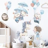 Милый Единорог кролик наклейки на стену для детской комнаты настенный Декор стикеры довольно для девочек, на возраст от трех до двенадцати ...