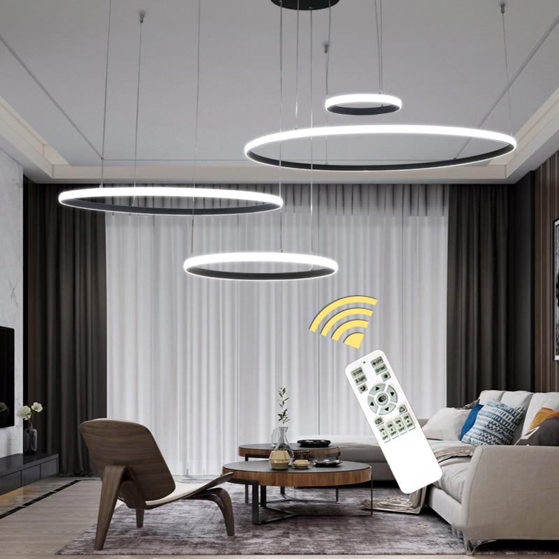 Pendentif Led moderne lumières pour salon salle à manger chambre décor Luminaires blanc noir plafond intérieur éclairage suspension
