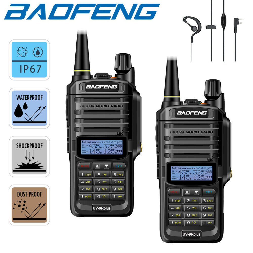 2X 18W BAOFENG UV-9R PLUS WATERPROOF IP68 WALKIE TALKIE HIGH POWER 2 WAY RADIO VHF UHF PORTABLE RADIO WALKIE TALKIE UV9R PLUS