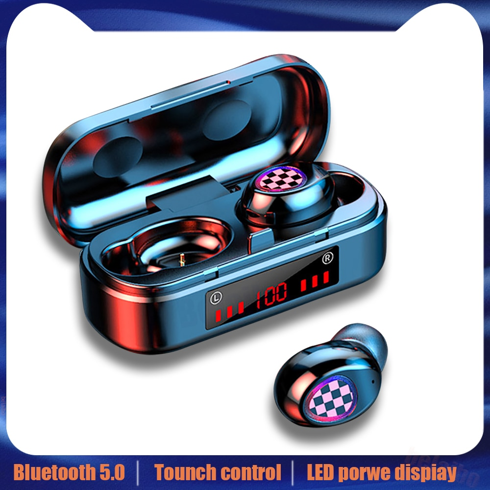 V7 TWS heaeset Fingerprint Touch fones de ouvido em fones de ouvido Bluetooth 5.0 fones de ouvido Sem Fio LED Display Digital fones de ouvido para o telefone