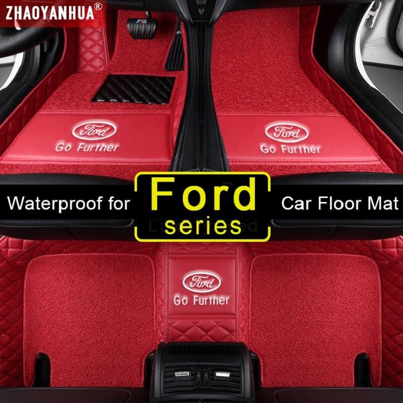 Alfombrillas de coche impermeables 3D para Ford ecosport transit fusion mondeo 5 Focus 2 explorer 5 s-max accesorios alfombra de suelo de cuero